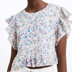 NWT ZARA SEQUINED FLORAL RUFFLED BUTTERFLY TEE